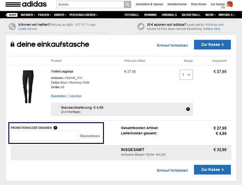 Adidas Warenkorb