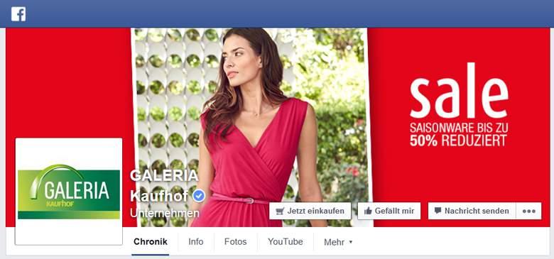 Facebook von Galeria Kaufhof
