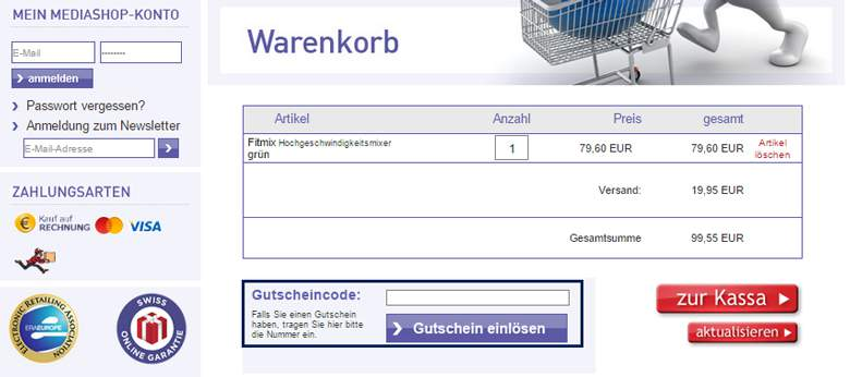 Mediashop Warenkorb