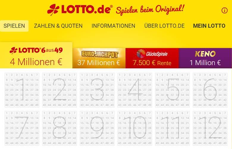 Lotto.de Hauptseite