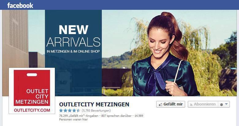 Facebook von Outletcity Metzingen