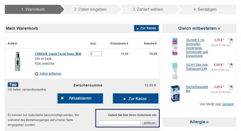 Shop-Apotheke Warenkorb