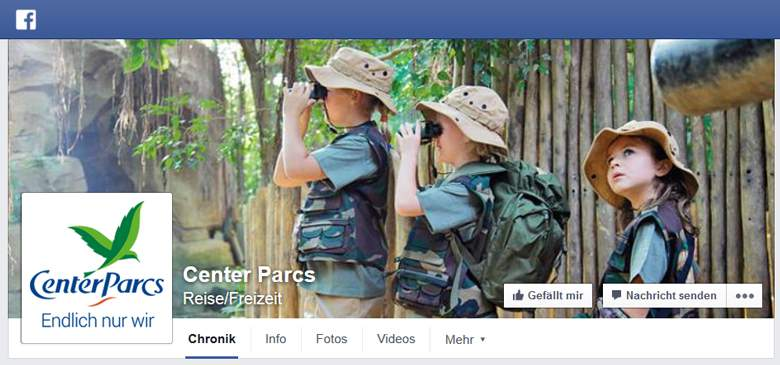 Center Parcs bei Facebook