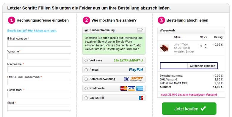 Druckerpatronen.de Warenkorb