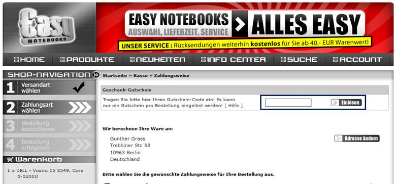 Easynotebooks Warenkorb