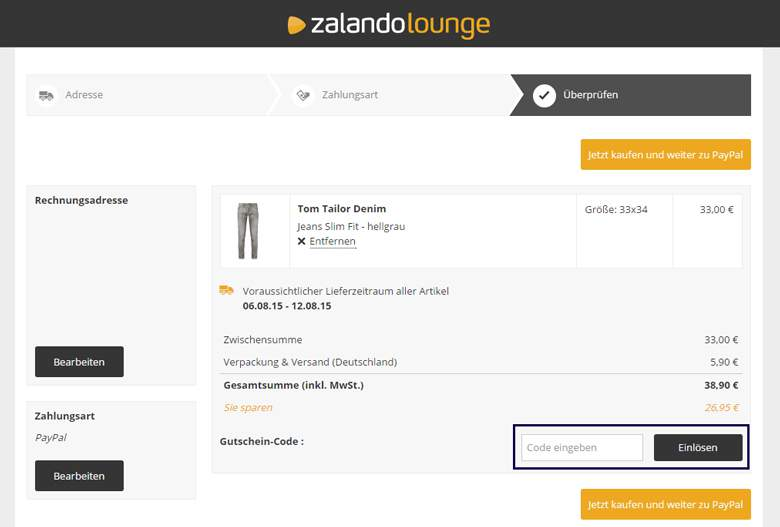 Warenkorb Zalando Lounge