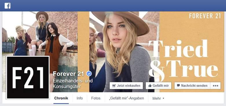 Forever 21 bei Facebook