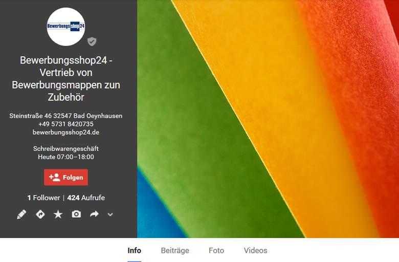 Bewerbungsshop24 bei Google +