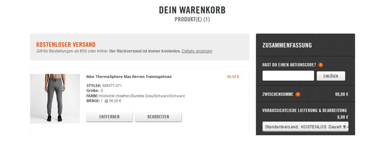 Nike Warenkorb