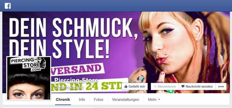 Piercing-Store bei Facebook