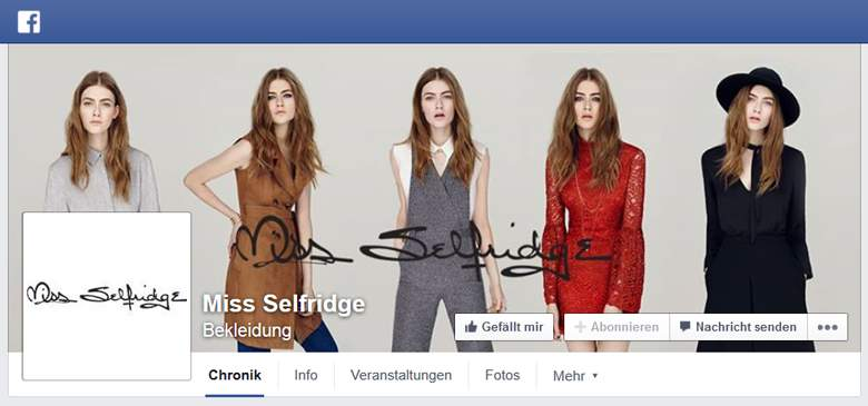 Miss Selfridge bei Facebook