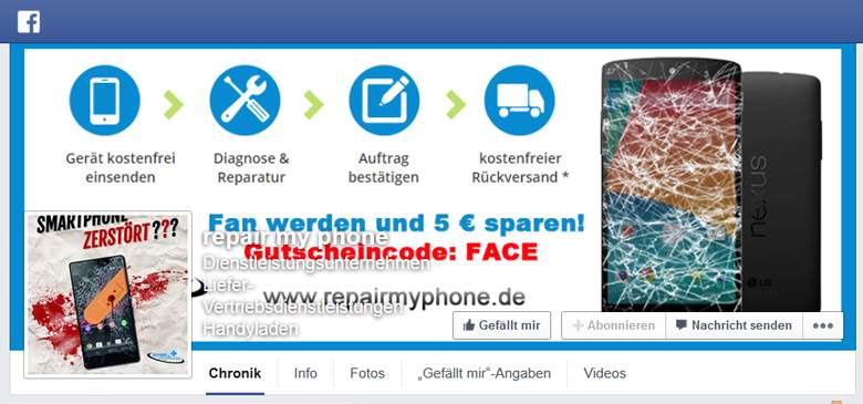 Repair my Phone bei Facebook